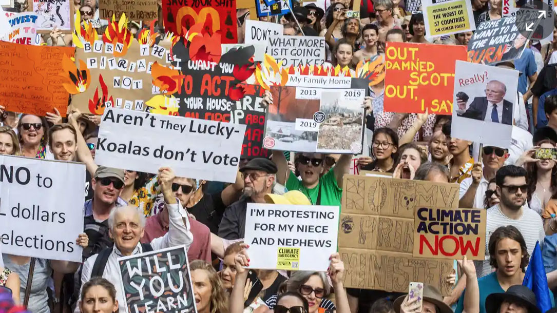 BlackRock boss Larry fink says protesters, such as these people in Australia, have been quicker to recognise the climate crisis than the financial sector