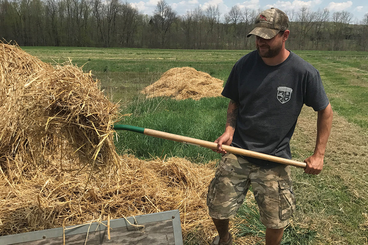 working the hay fields