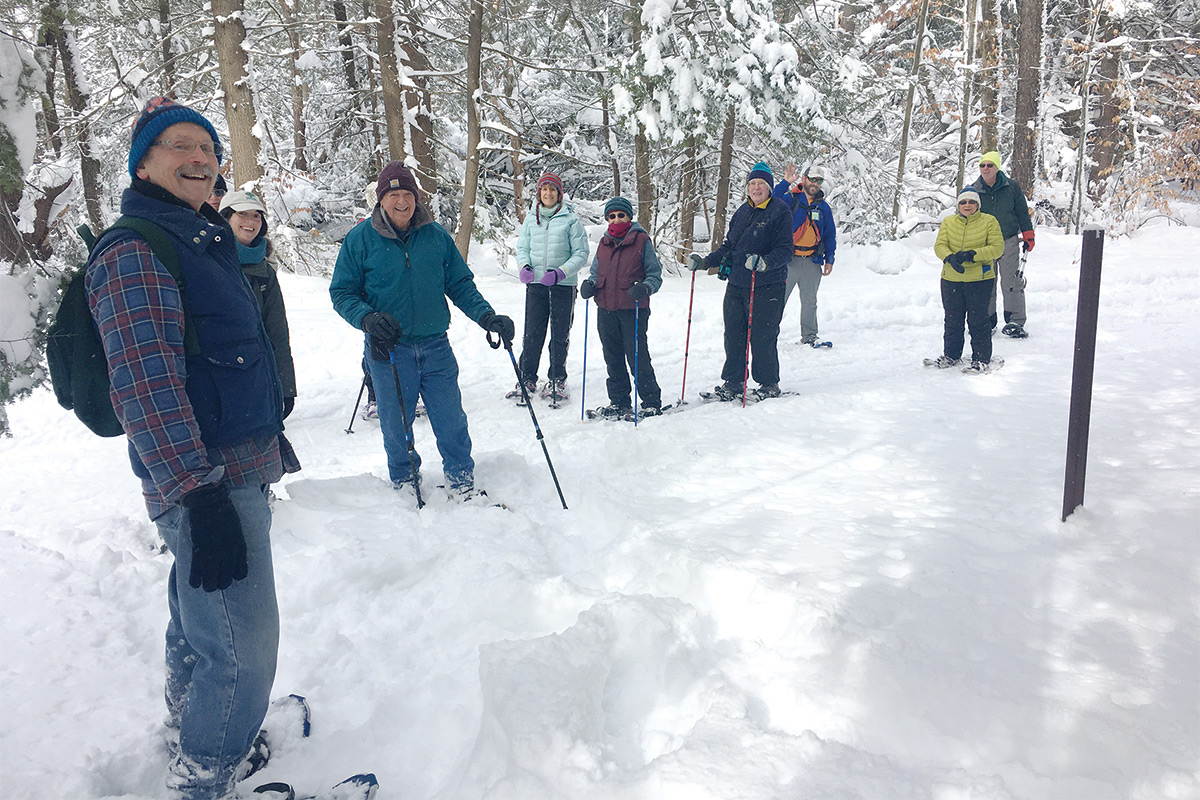 group skiing event