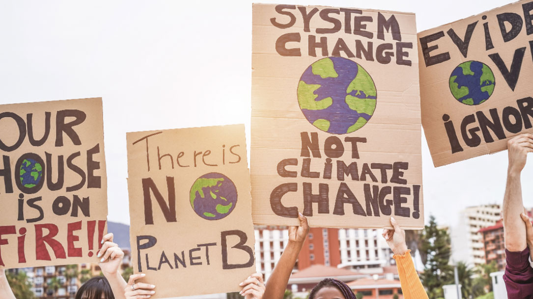 Climate Change Sign Holders